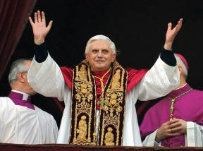 Habemus Papam! Benedict XVI shortly after being elected in 2005